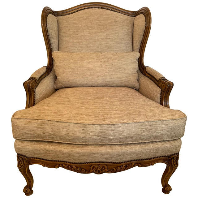 Handsome Louis XV Style Bergere With Neutral Taupe Rose Tarlow Upholstery For Sale - Image 12 of 12