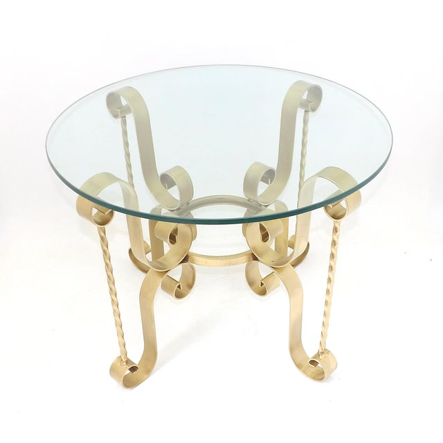 Mid-Century Modern 1960's Mid Century Modern Wrought Iron Round Glass Side Table For Sale - Image 3 of 10