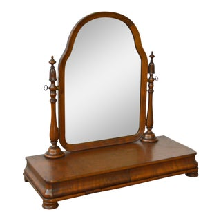 Antique Victorian Walnut 2 Drawer Shaving Mirror For Sale