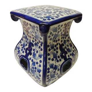Vintage Blue and White Ceramic Painted Garden Stool For Sale