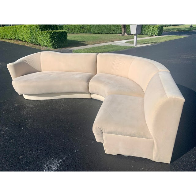Vladimir Kagan for Weiman 3pc Scroll Back Sectional Sofa For Sale - Image 12 of 13