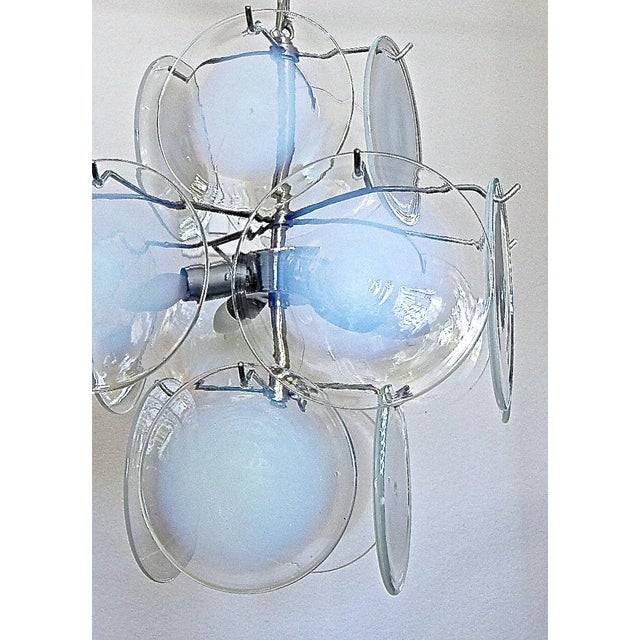 Vistosi Murano Clear & Opalescent Glass Disc Chandelier Pendant Light For Sale - Image 10 of 13