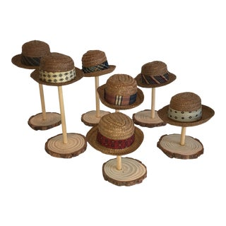1960s Dobbs Miniatures Straw Hats With Honolulu Tags - Set of 7 For Sale