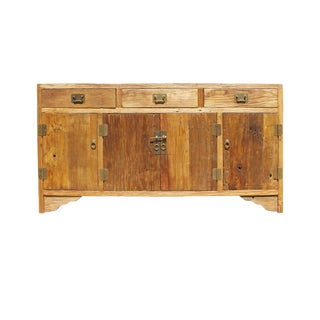 Chinese Rough Drift Wood Hardware Sideboard Buffet Table Cabine