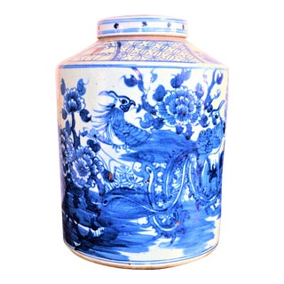 Monumental Porcelain Blue White Pheasant Tea Jar For Sale
