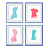 Image of Fair Lady 4pc set by Virginia Chamlee in Neon Light Blue Acrylic Shadowbox, Medium Art Print For Sale