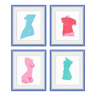 Fair Lady 4pc set by Virginia Chamlee in Neon Light Blue Acrylic Shadowbox, Medium Art Print For Sale