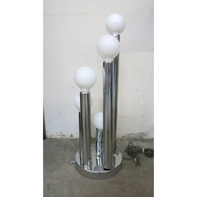 Mid 20th Century Sonneman Style Chrome Ball Table Lamp, by Torino Italy For Sale - Image 5 of 10
