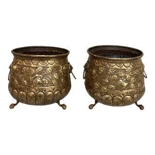 Pair 19th Century Embossed Brass Jardinieres For Sale