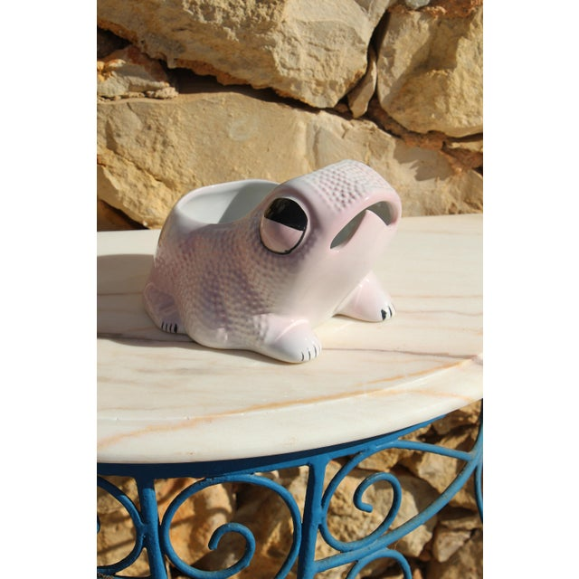 1970's Vintage Hobnail Frog Planter in the Style of Jean Roger For Sale - Image 11 of 13