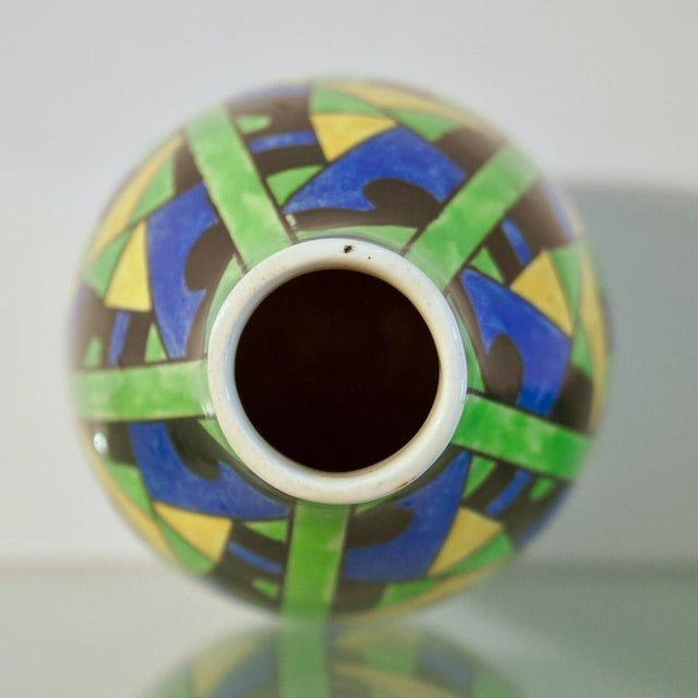 1920s 1920s Green Blue & Yellow Abstract Geometric Charles Catteau Vase For Sale - Image 5 of 7