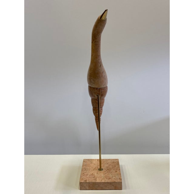 Metal Tessellated Stone & Brass Bird Sculpture For Sale - Image 7 of 10