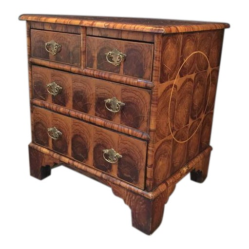 English Georgian Oyster Veneer Small Chest For Sale