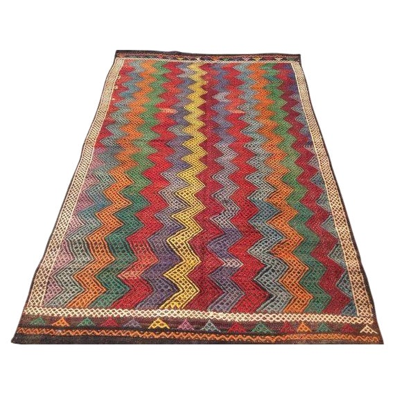 Vintage Turkish Kilim Rug - 6′ × 10′2″ For Sale
