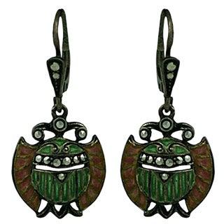 Plique a Jour Art Deco Egyptian Revival Earrings For Sale