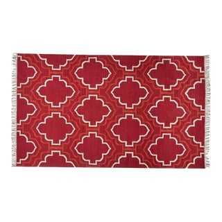 Borden Tile Recycled Yarn Indoor/Outdoor Red Rug - 5′ × 8′