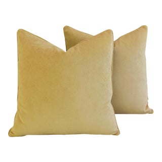 "24"" Soft Gold Velvet Feather & Down Pillows - a Pair"
