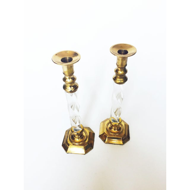 Art Deco Vintage Tall Brass and Twisted Lucite Candlestick Holders - A Pair For Sale - Image 3 of 6