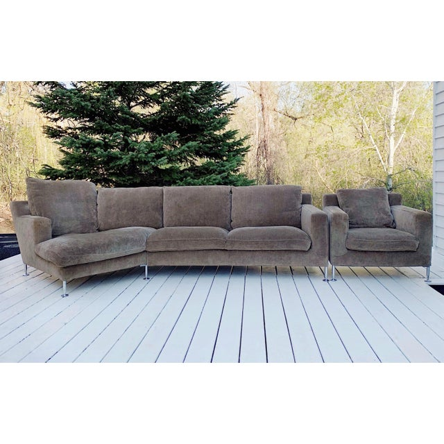 "B&b Italia Harry sectional and side chair, circa 1990's in excellent condition. Dimensions: Sectional: 122""W x 40""D x 28""H..."
