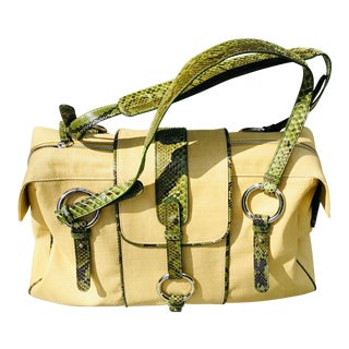 Gianfranco Ferre Large Raffia and Python Skin Satchel For Sale
