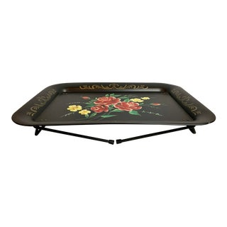 Painted Black Metal Tray on Legs by the Block Company, Chicago For Sale