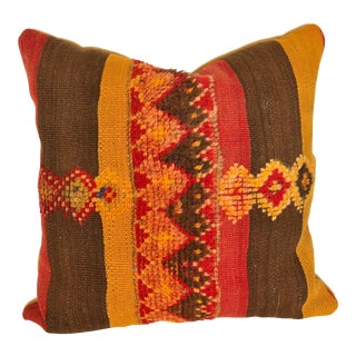 Custom Pillow Cut from a Vintage Moroccan Beni Ouarain Hand-Loomed Wool Rug For Sale
