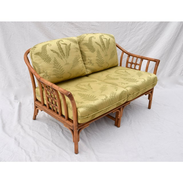 Late 20th Century Ficks Reed Style Settee & Ottoman For Sale - Image 5 of 13
