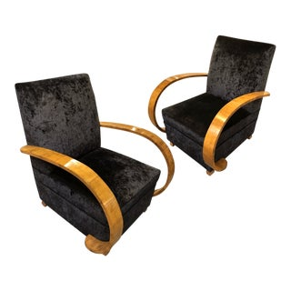 1940s Italian Burl & Walnut Wood and Velvet Club Chairs — a Pair For Sale