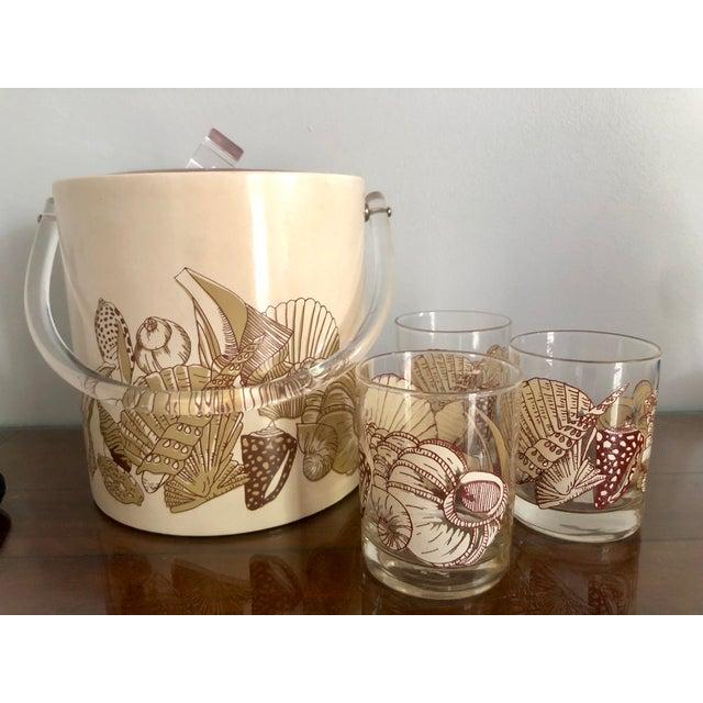 Acrylic Seashell Ice Bucket & Matching Glasses - Set of 4 For Sale - Image 10 of 13