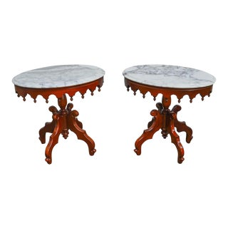 Victorian Style Pair of Solid Mahogany Oval Marble Top Side Tables For Sale