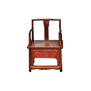 Antique Red Chinese Armchair For Sale