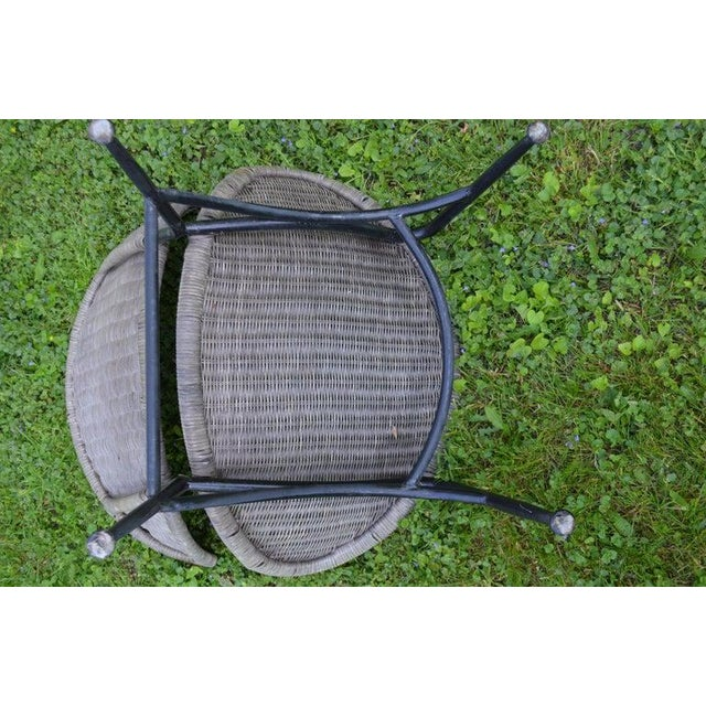 Salterini Wicker Clamshell Chairs, Pair, With Steel Frame for Home, Patio, Porch For Sale - Image 11 of 13