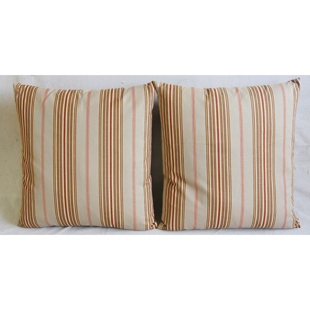 Pair of large custom-tailored double sided/reversible pillows in unused ultra soft 100% cotton woven French stripe ticking...