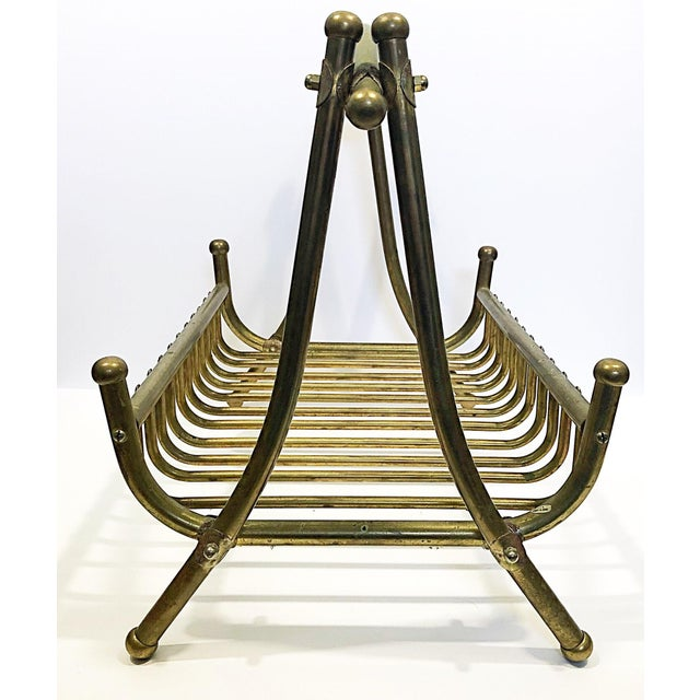Vintage Brass Magazine Rack For Sale - Image 5 of 8