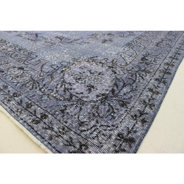 Blue Turkish Overdyed Rug - 6′5″ × 9′9″ For Sale - Image 8 of 9