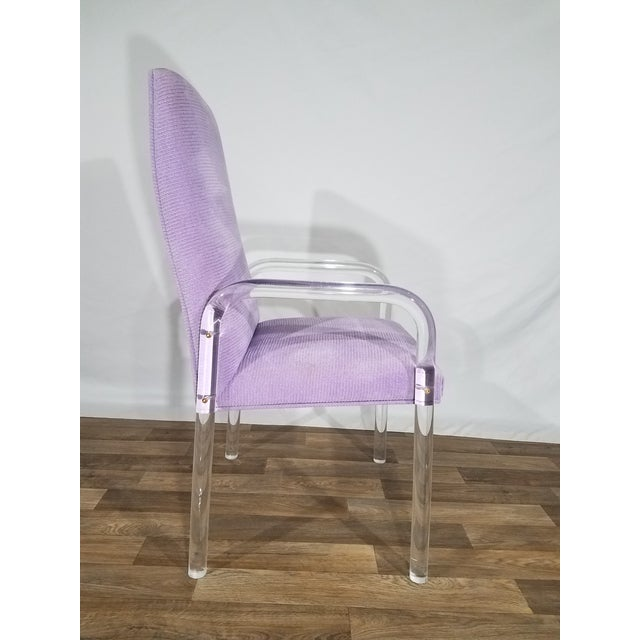 Tulip Inc. Vintage Mid Century Tri-Mark Tulip Purple and Lucite High Back Chairs- Set of 4 For Sale - Image 4 of 13