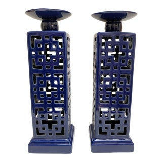 Navy Blue Asian Chinoiserie Candleholders - a Pair For Sale