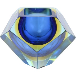 1970's Blue Murano Faceted Sommerso Art Glass Bowl