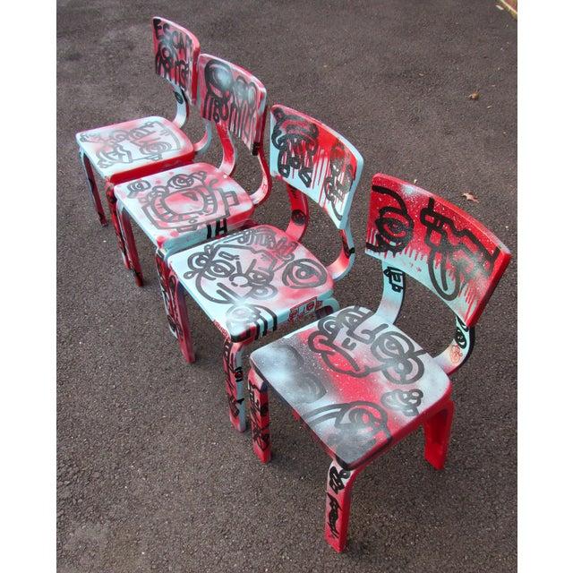 Graffiti Painted Children's Thonet Chairs - Set of 4 - Image 5 of 11