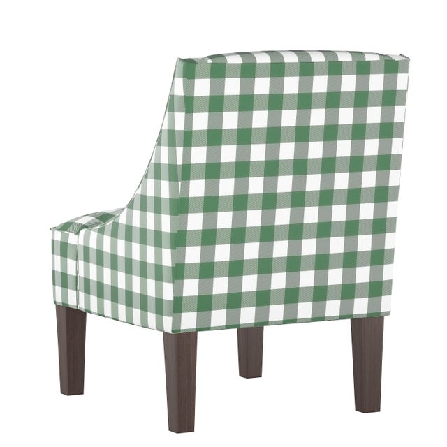 Contemporary Swoop Arm Chair in Classic Gingham Evergreen Oga For Sale - Image 3 of 7