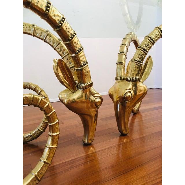 Brass Vintage Brass Ram's Head / Gazelle Alain Chervet Style Hollywood Regency Dining Table For Sale - Image 8 of 13