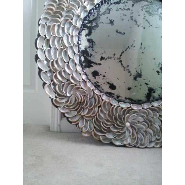 Abalones Shell Mirror With Antique Glass For Sale - Image 4 of 12