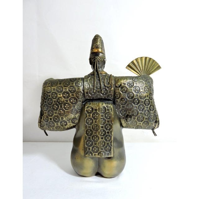 Metal Vintage Japanese Brass 'Noh' Figure/Okimono Statue With Okina Mask For Sale - Image 7 of 13