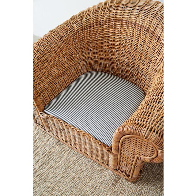 Michael Taylor Style Wicker Lounge Chairs With Ottoman For Sale In San Francisco - Image 6 of 13