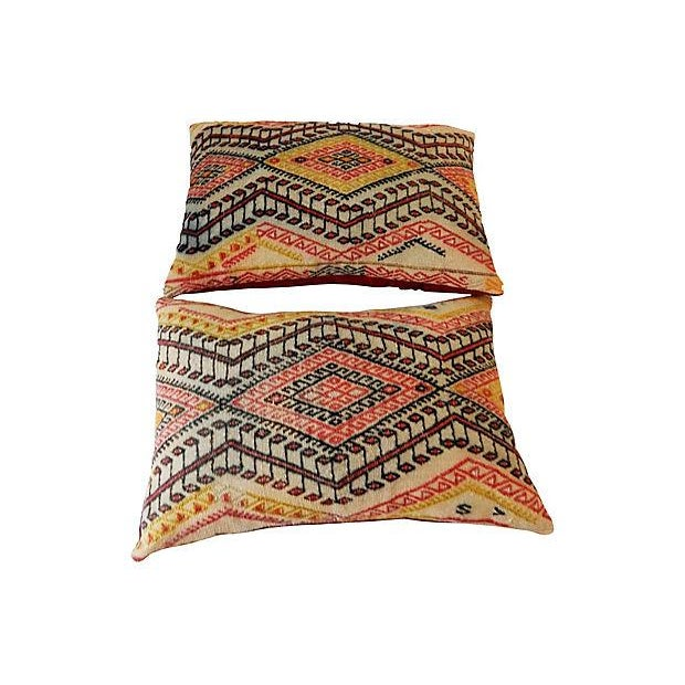 Antique Caucasian Soumak Pillows, Pair - Image 7 of 8