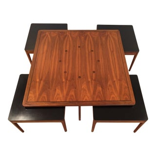 1960s Mid Century Modern Drexel Declaration Coffee Table and Nesting Stools- 5 Pieces For Sale