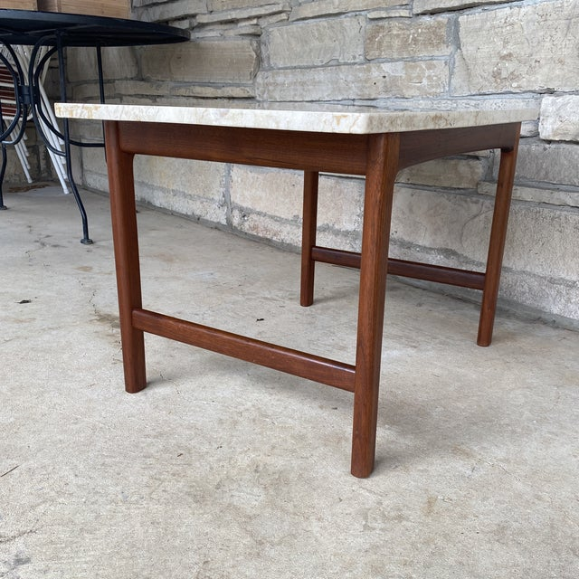 Mid-Century Modern 1950s Danish Modern Dux Folke Ohlsson Travertine Top Tables - a Pair For Sale - Image 3 of 12