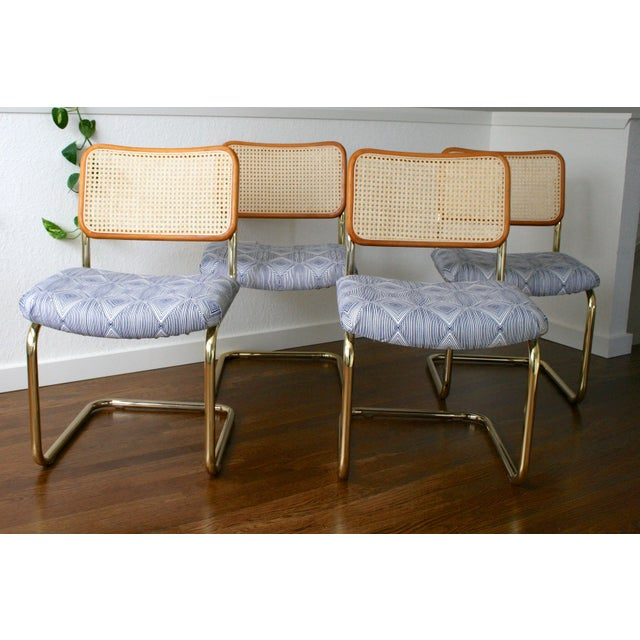 Marcel Breuer Brass Cantilever Cane and Blue Print Upholstered Chairs For Sale - Image 4 of 9