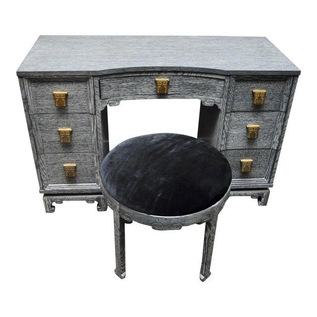 Mid Century Cerused Vanity & Stool For Sale