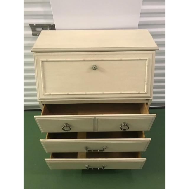 Petite White Faux Bamboo Secretary Desk For Sale - Image 4 of 9